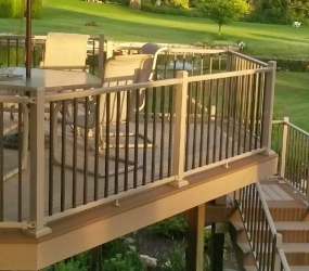 Multi Level deck with railing tan