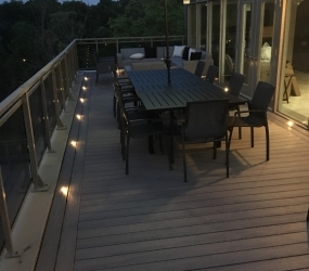 Terrace with Ash Grey border evening with lights